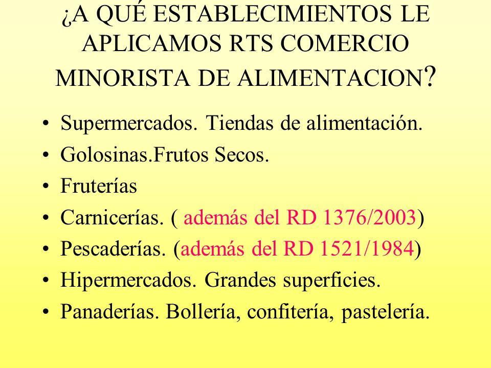¿A QUÉ ESTABLECIMIENTOS LE APLICAMOS RTS COMERCIO MINORISTA DE ALIMENTACION