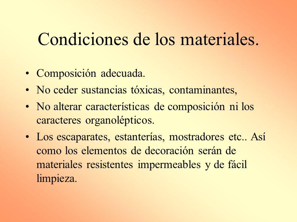 Condiciones de los materiales.