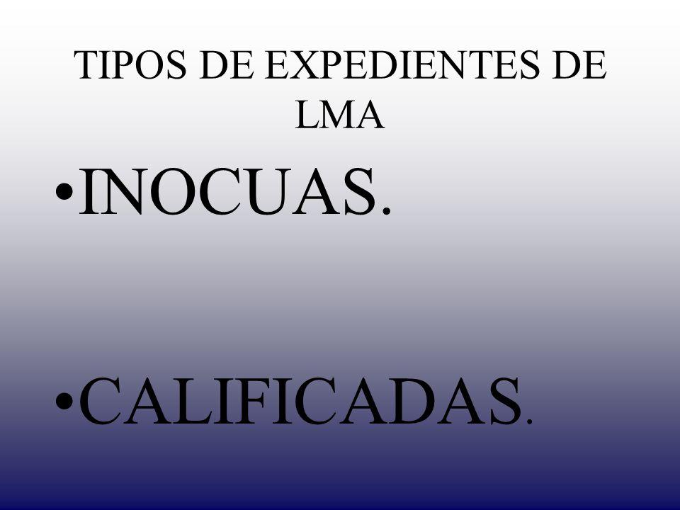 TIPOS DE EXPEDIENTES DE LMA