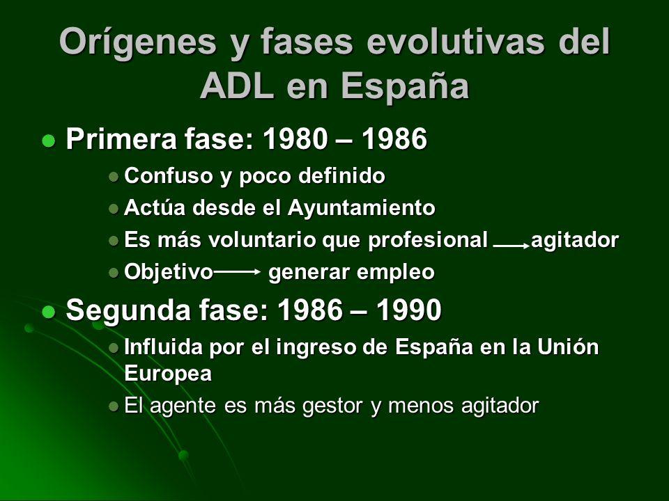 Orígenes y fases evolutivas del ADL en España