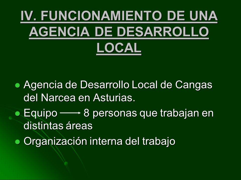 IV. FUNCIONAMIENTO DE UNA AGENCIA DE DESARROLLO LOCAL