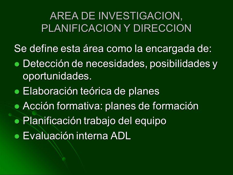 AREA DE INVESTIGACION, PLANIFICACION Y DIRECCION