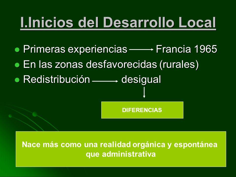 I.Inicios del Desarrollo Local