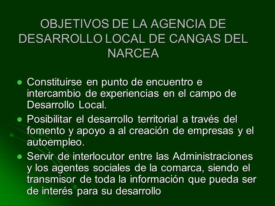 OBJETIVOS DE LA AGENCIA DE DESARROLLO LOCAL DE CANGAS DEL NARCEA
