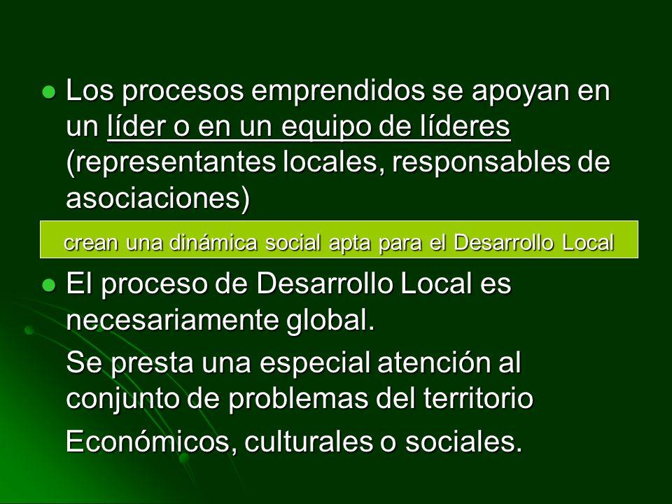 crean una dinámica social apta para el Desarrollo Local