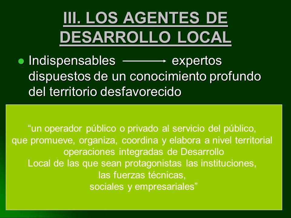 III. LOS AGENTES DE DESARROLLO LOCAL