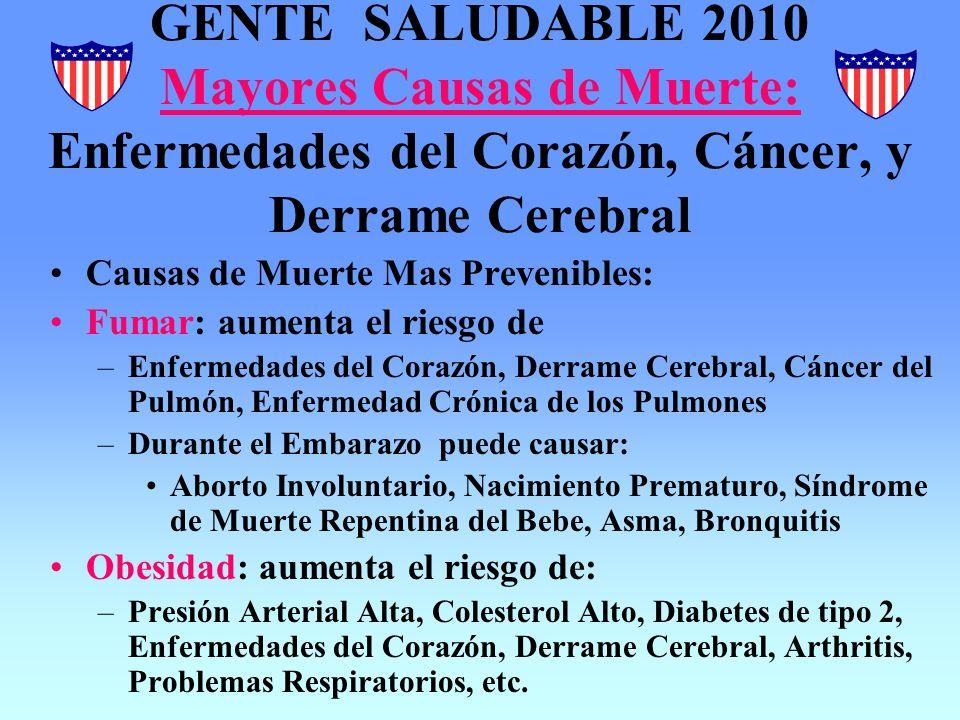 GENTE SALUDABLE 2010 Mayores Causas de Muerte: Enfermedades del Corazón, Cáncer, y Derrame Cerebral