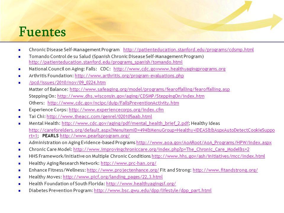 Fuentes Chronic Disease Self-Management Program http://patienteducation.stanford.edu/programs/cdsmp.html.