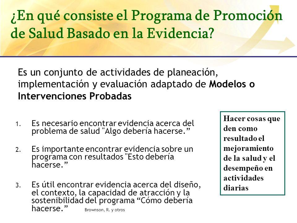 ¿En qué consiste el Programa de Promoción de Salud Basado en la Evidencia