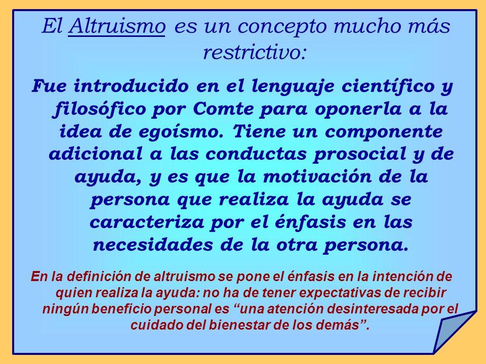 El Altruismo es un concepto mucho más restrictivo: