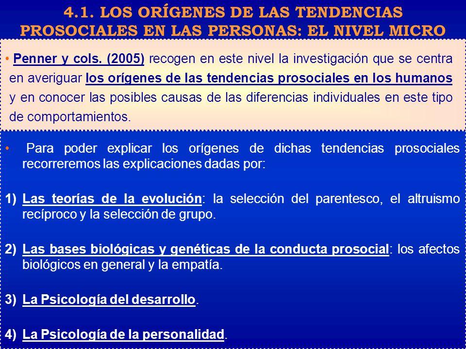 4.1. LOS ORÍGENES DE LAS TENDENCIAS PROSOCIALES EN LAS PERSONAS: EL NIVEL MICRO