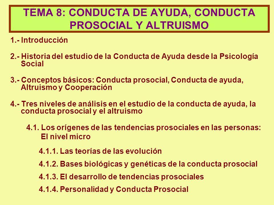 TEMA 8: CONDUCTA DE AYUDA, CONDUCTA PROSOCIAL Y ALTRUISMO