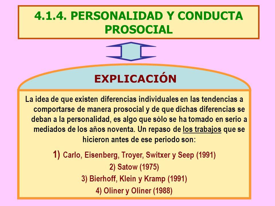 4.1.4. PERSONALIDAD Y CONDUCTA PROSOCIAL