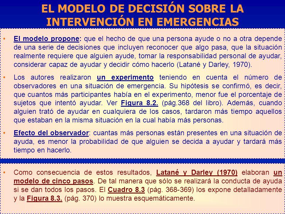 EL MODELO DE DECISIÓN SOBRE LA INTERVENCIÓN EN EMERGENCIAS
