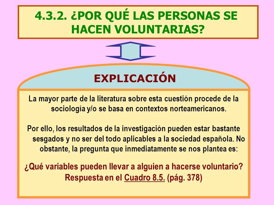 4.3.2. ¿POR QUÉ LAS PERSONAS SE HACEN VOLUNTARIAS