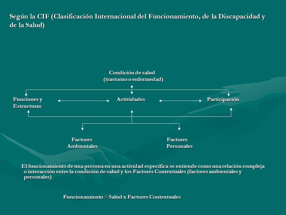 Según la CIF (Clasificación Internacional del Funcionamiento, de la Discapacidad y de la Salud)