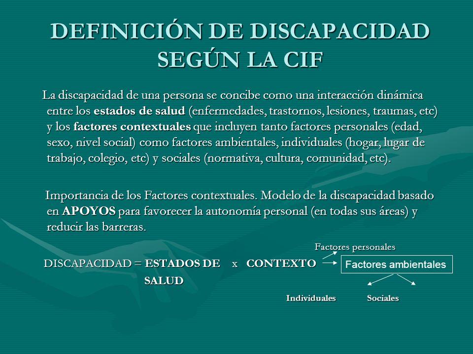 DEFINICIÓN DE DISCAPACIDAD SEGÚN LA CIF