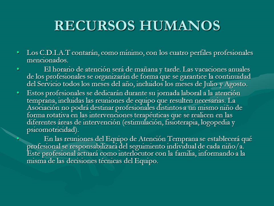 RECURSOS HUMANOS Los C.D.I.A.T contarán, como mínimo, con los cuatro perfiles profesionales mencionados.