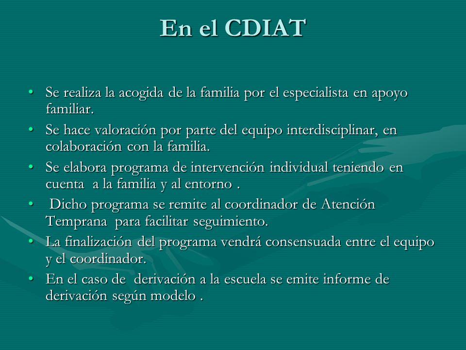 En el CDIAT Se realiza la acogida de la familia por el especialista en apoyo familiar.