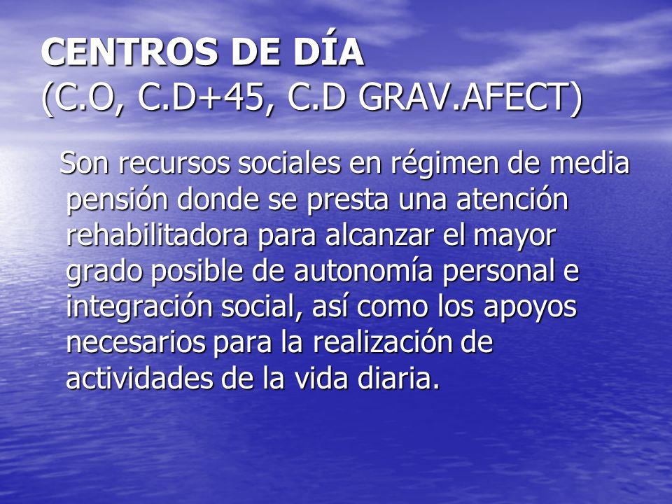 CENTROS DE DÍA (C.O, C.D+45, C.D GRAV.AFECT)