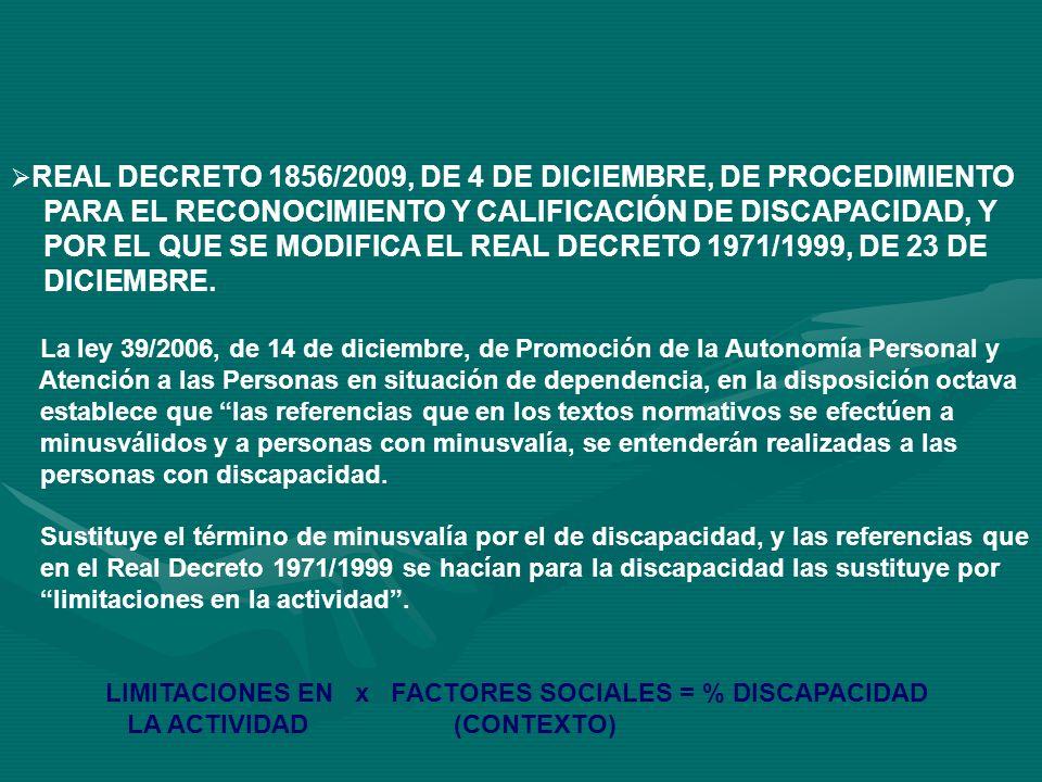 PARA EL RECONOCIMIENTO Y CALIFICACIÓN DE DISCAPACIDAD, Y