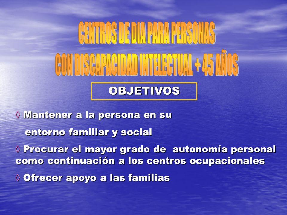 CENTROS DE DIA PARA PERSONAS CON DISCAPACIDAD INTELECTUAL + 45 AÑOS