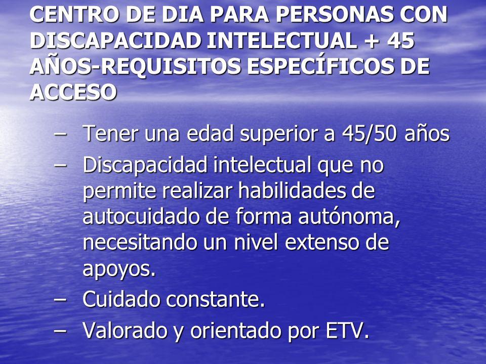CENTRO DE DIA PARA PERSONAS CON DISCAPACIDAD INTELECTUAL + 45 AÑOS-REQUISITOS ESPECÍFICOS DE ACCESO