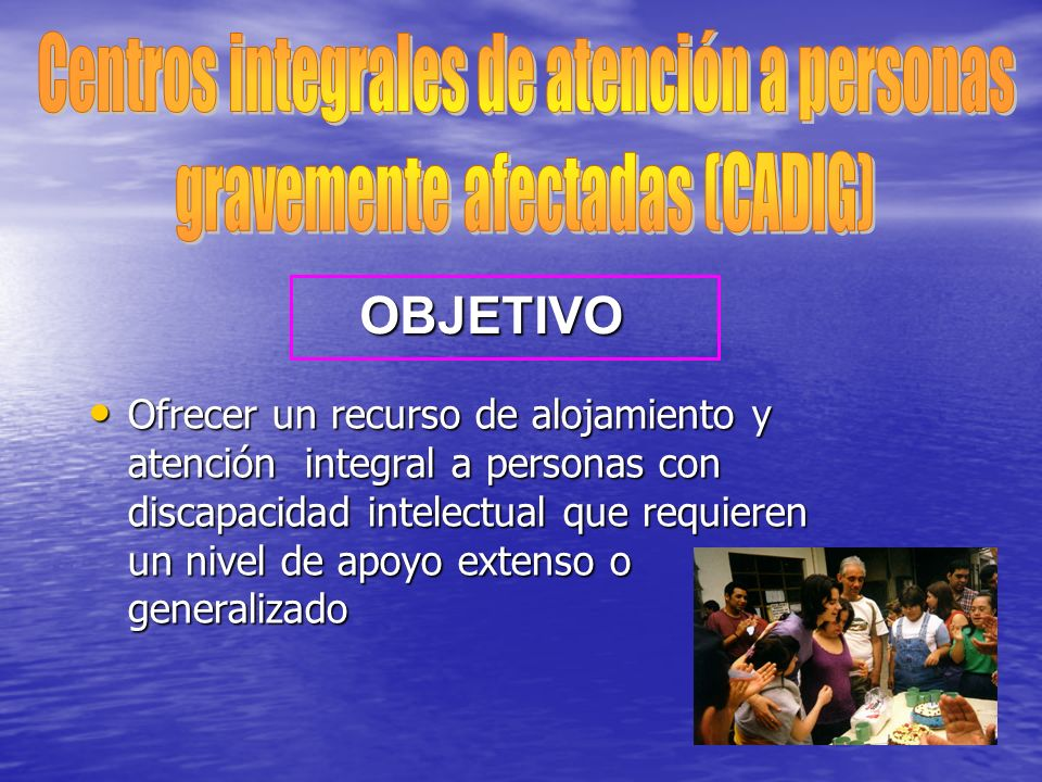 Centros integrales de atención a personas gravemente afectadas (CADIG)