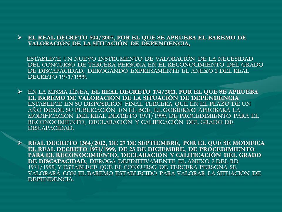 EL REAL DECRETO 504/2007, POR EL QUE SE APRUEBA EL BAREMO DE VALORACIÓN DE LA SITUACIÓN DE DEPENDENCIA,