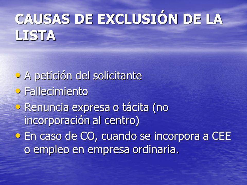CAUSAS DE EXCLUSIÓN DE LA LISTA