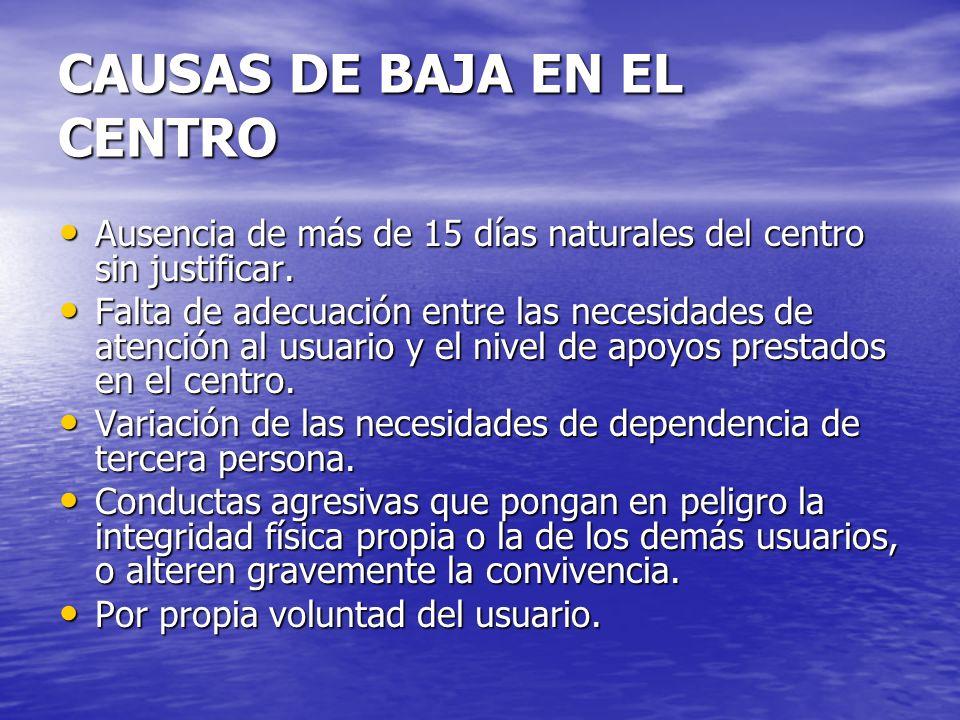 CAUSAS DE BAJA EN EL CENTRO