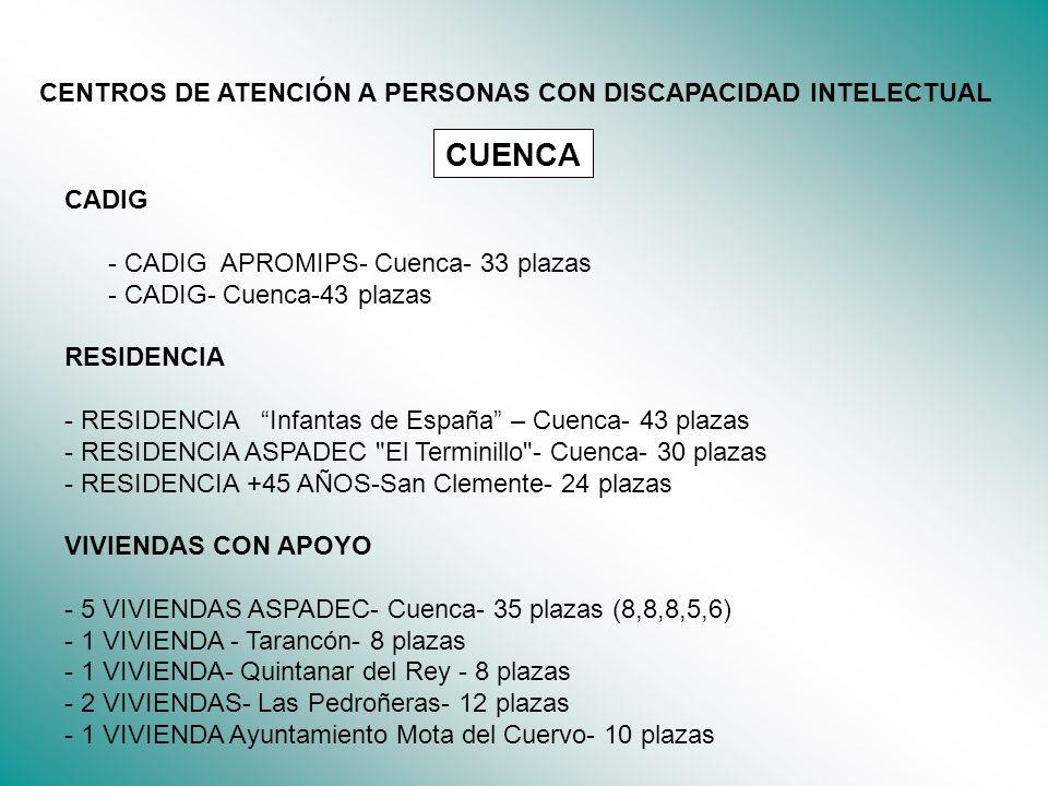 CUENCA CENTROS DE ATENCIÓN A PERSONAS CON DISCAPACIDAD INTELECTUAL