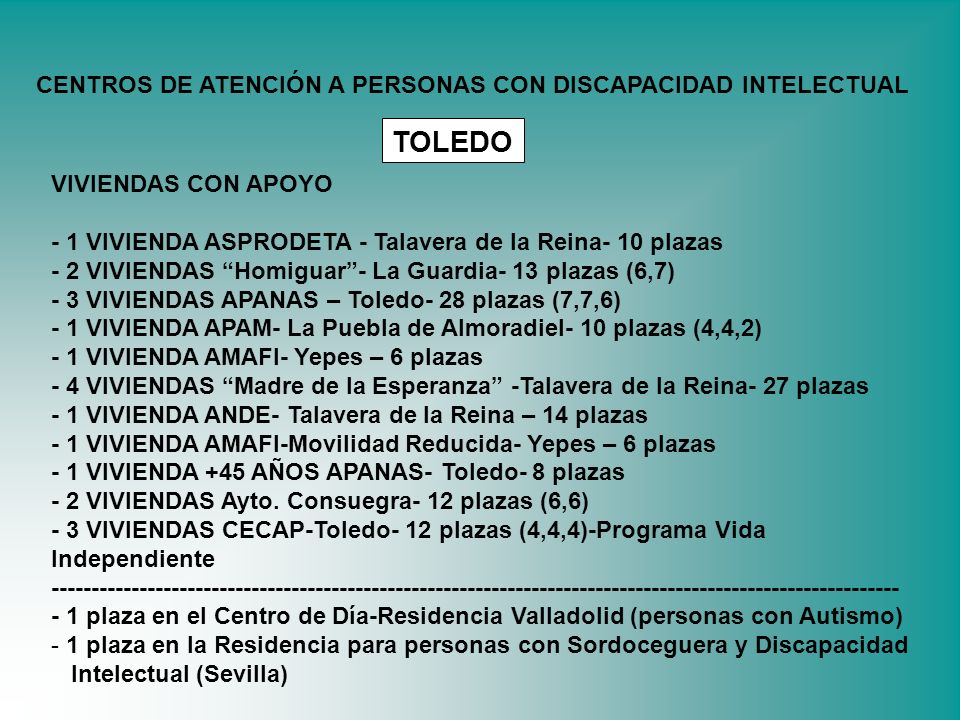 TOLEDO CENTROS DE ATENCIÓN A PERSONAS CON DISCAPACIDAD INTELECTUAL