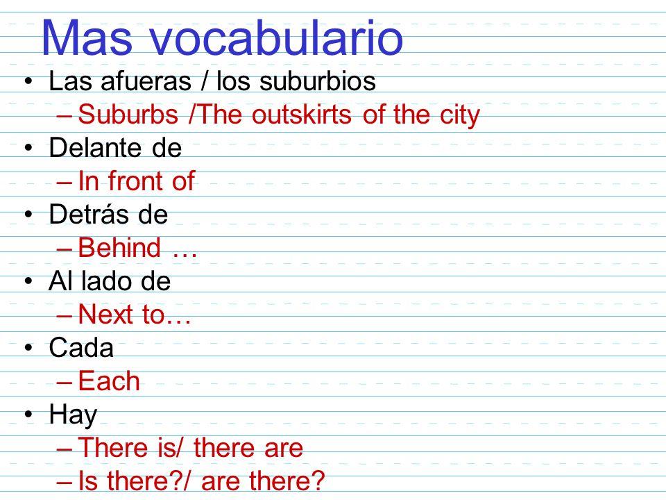 Mas vocabulario Las afueras / los suburbios