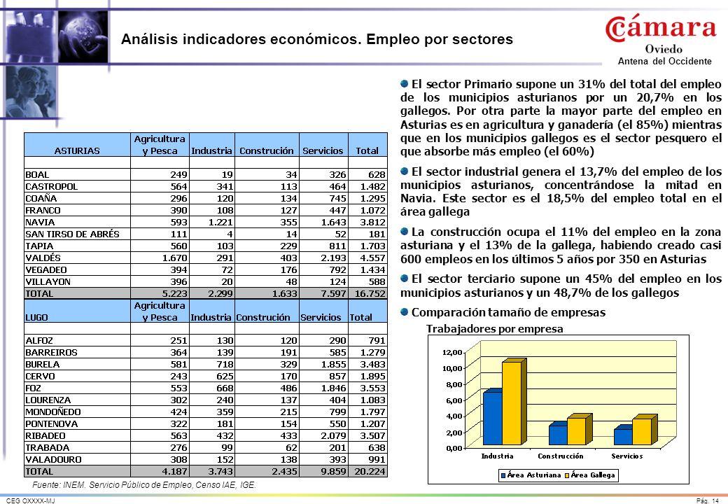 Análisis indicadores económicos. Empleo por sectores