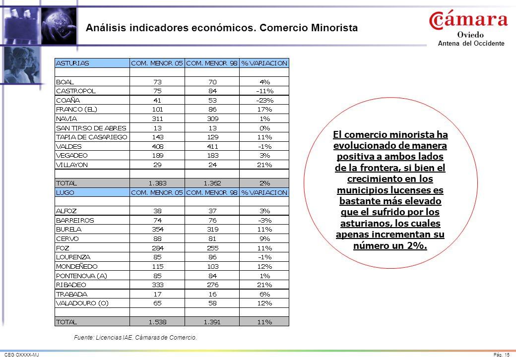 Análisis indicadores económicos. Comercio Minorista
