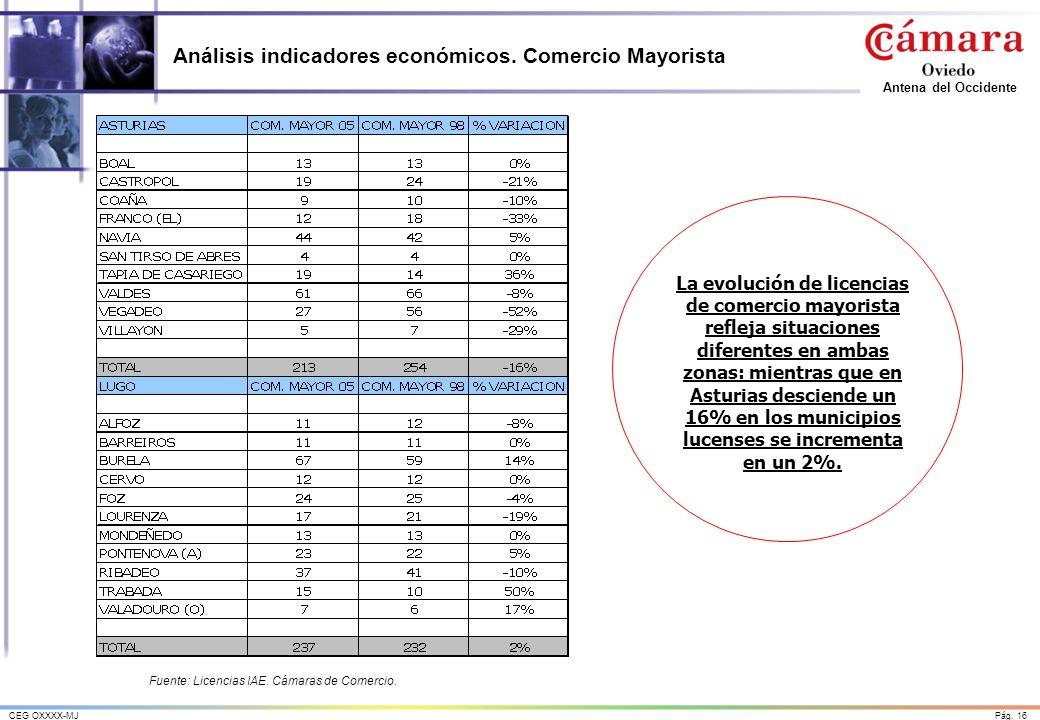Análisis indicadores económicos. Comercio Mayorista