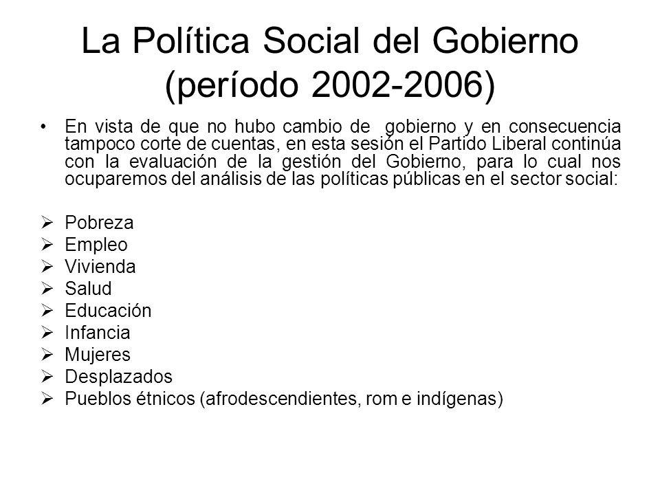La Política Social del Gobierno (período 2002-2006)