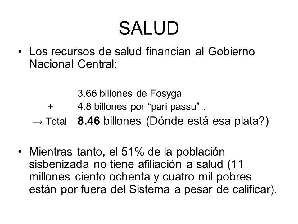 SALUD Los recursos de salud financian al Gobierno Nacional Central: