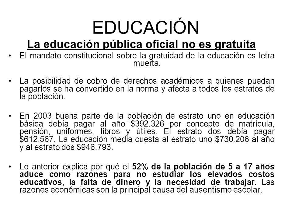 La educación pública oficial no es gratuita