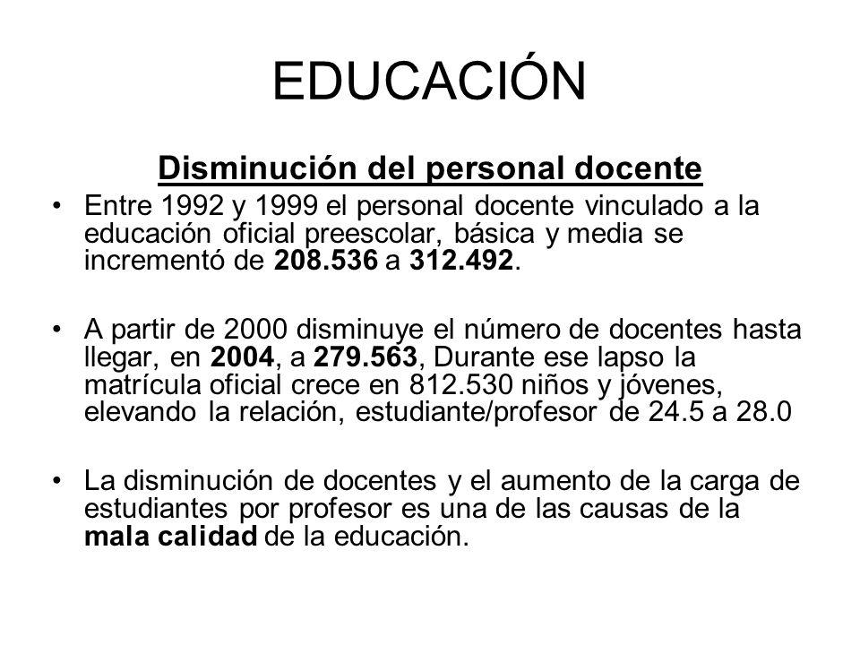 Disminución del personal docente