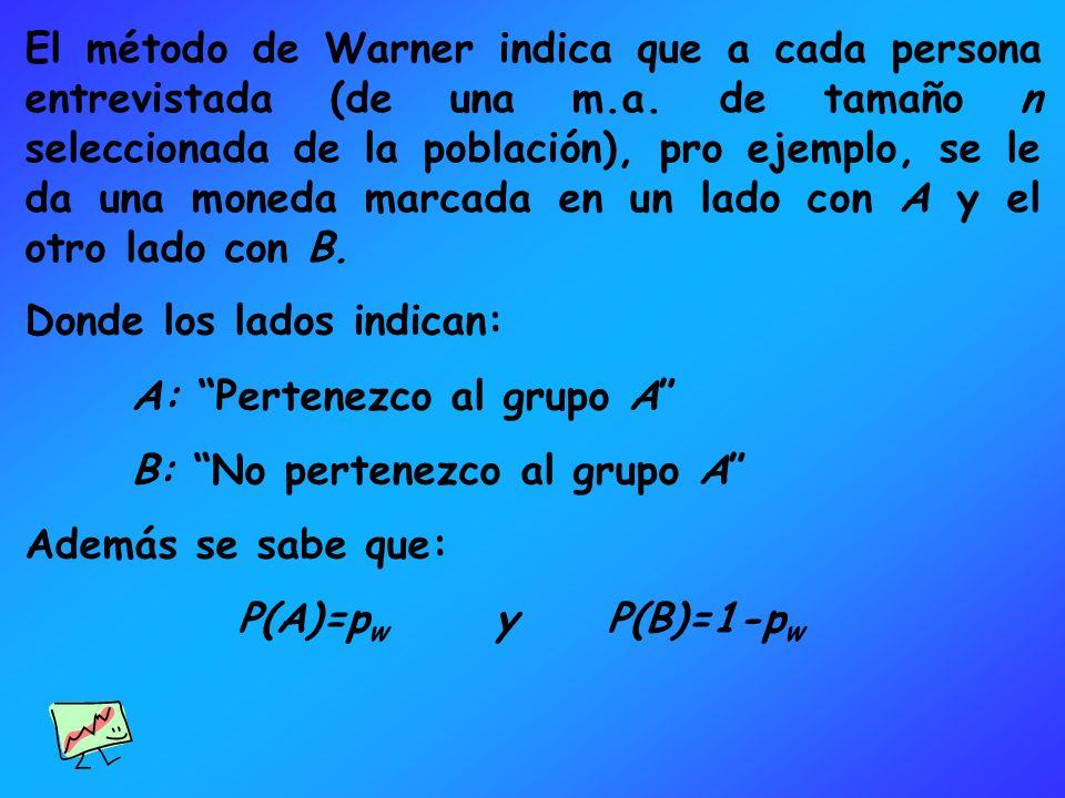 El método de Warner indica que a cada persona entrevistada (de una m.a. de tamaño n seleccionada de la población), pro ejemplo, se le da una moneda marcada en un lado con A y el otro lado con B.