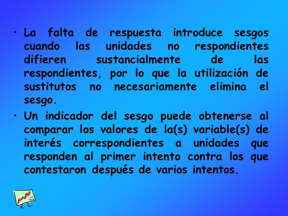 La falta de respuesta introduce sesgos cuando las unidades no respondientes difieren sustancialmente de las respondientes, por lo que la utilización de sustitutos no necesariamente elimina el sesgo.
