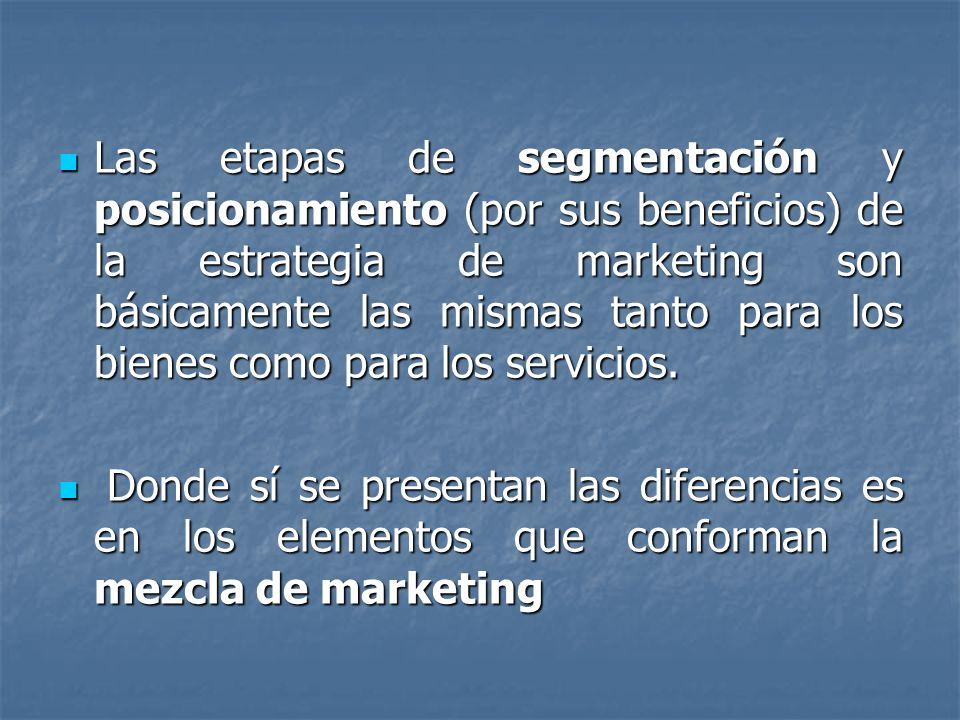 Las etapas de segmentación y posicionamiento (por sus beneficios) de la estrategia de marketing son básicamente las mismas tanto para los bienes como para los servicios.