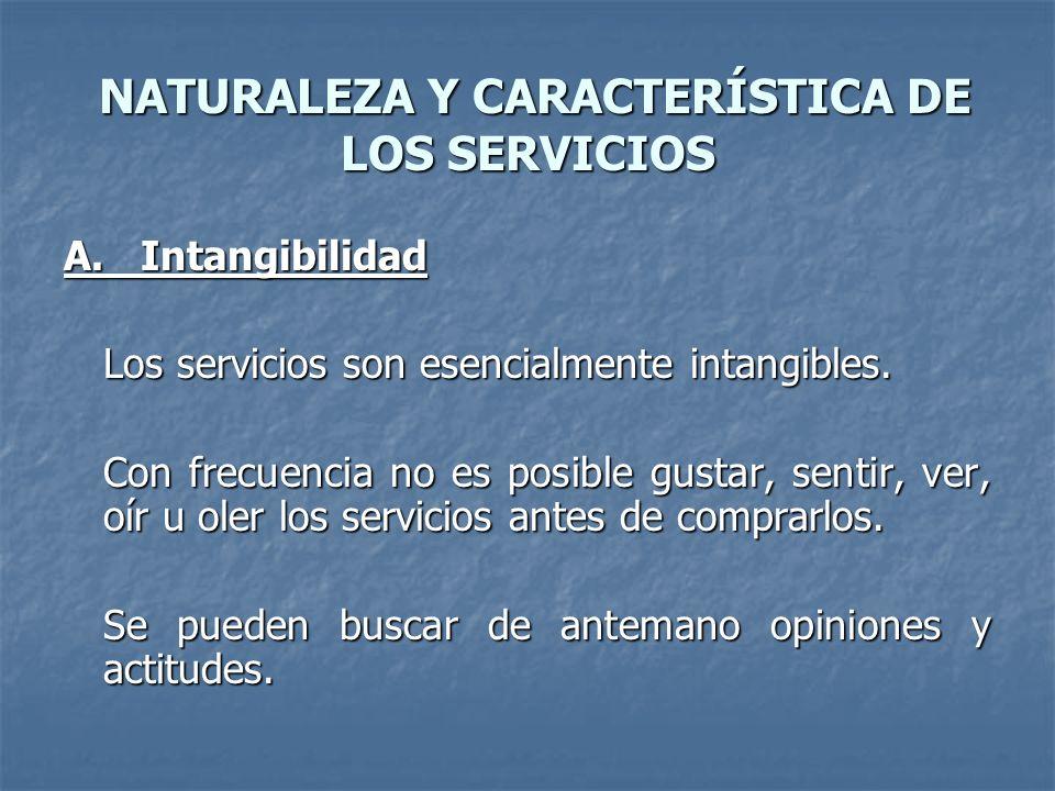 NATURALEZA Y CARACTERÍSTICA DE LOS SERVICIOS