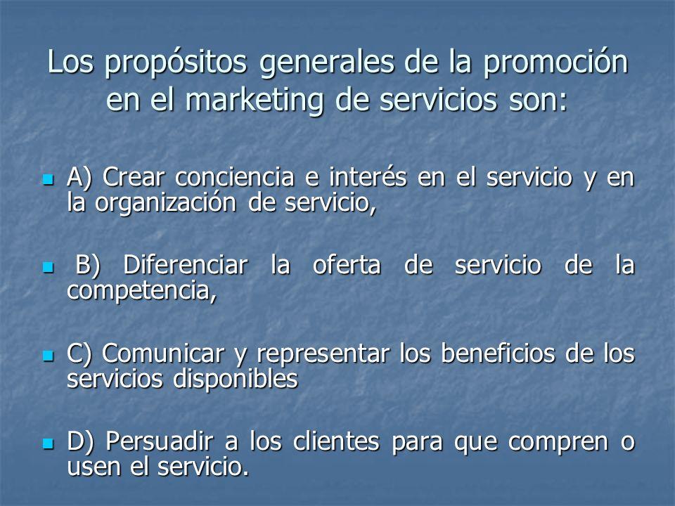Los propósitos generales de la promoción en el marketing de servicios son: