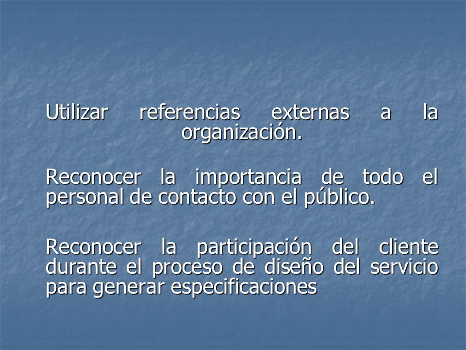 Utilizar referencias externas a la organización.
