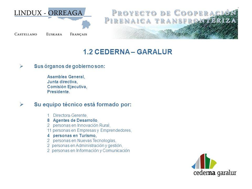 1.2 CEDERNA – GARALUR Su equipo técnico está formado por: