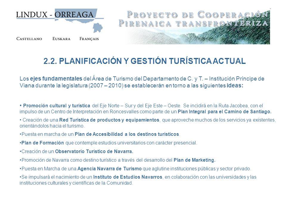 2.2. PLANIFICACIÓN Y GESTIÓN TURÍSTICA ACTUAL