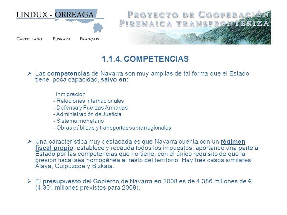 1.1.4. COMPETENCIAS Las competencias de Navarra son muy amplias de tal forma que el Estado tiene poca capacidad, salvo en: